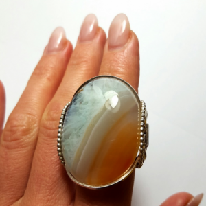 Agate Stone Druzy Ring Size 9 - 10 Handmade Cocktail Ring Sterling Jewelry Design Massive Stone