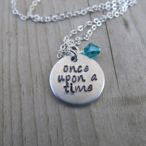"Once Upon A Time Inspiration Necklace- Hand-Stamped ""once upon a time"" with an accent bead in your choice of colors"