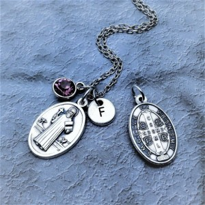 Silver Plated Saint Benedict Necklace / Personalize with Birthstone or Initial / St Benedict Necklace
