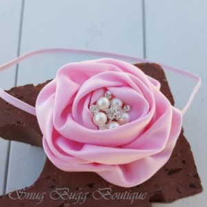 Pink Satin Headband, Satin Puff Flower, Newborn Photo Headband
