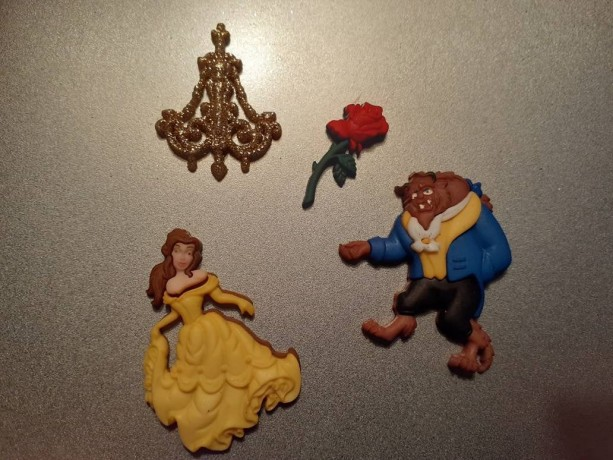 Magnets, 4 Strong Refrigerator Magnets, Cubicle Decor, Locker Magnets, Office Supply,Disney, Beauty and the Beast,  Disneyland