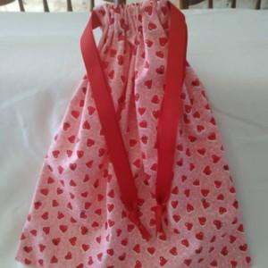 Valentines Day Present for Her, Drawstring Handmade Bag,  Gift Bag, Handsewn Pink Drawstring Valentines Day Bag for Her, VDay Gift