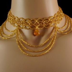 Topaz Swarovski crystal gold Czech glass beaded Victorian draping choker. Gold crystal vintage choker. Swarovski crystal baroque gold choker