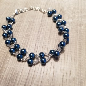 Beaded Bracelet Blue and Clear Glass Beads
