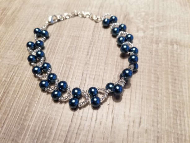 Bracelet Beaded  Blue and Pearls Swarovski Crystal One of a Kind