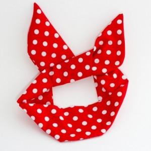 Red and White Polka Dot Wire Headband ,Free Shipping, Rockabilly Style, Rockabilly inspired, Handmade