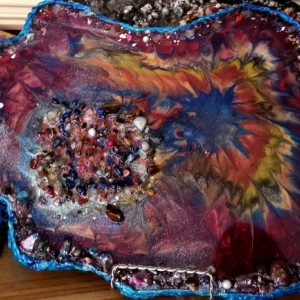 "Eco-Epoxy Resin Geode ""Color Blast"" table display or wallhanging"