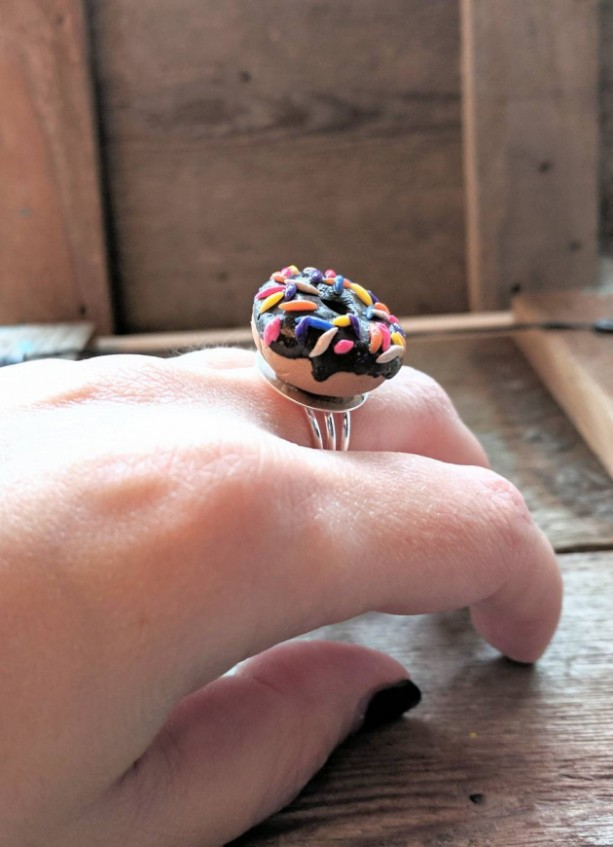 Donut • Donut Ring • Friendship Gift • Stocking Stuffer • Sprinkles • Birthday Gift • Gold Plated • Funny • Adjustable Ring • Customizable