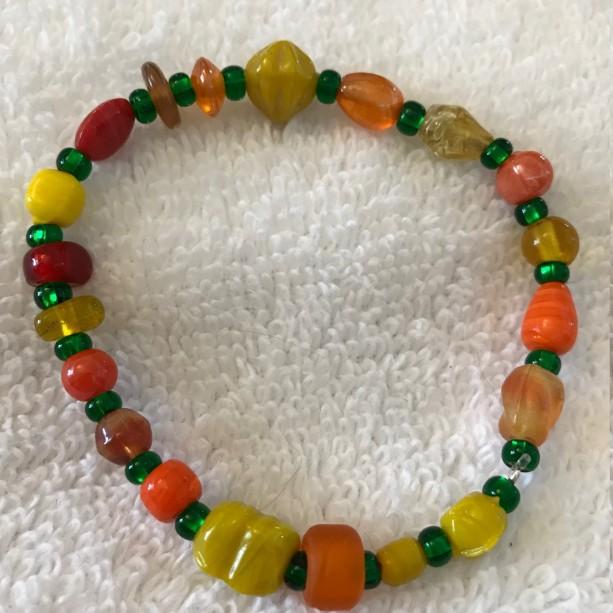 Peas & Carrots handmade beaded bracelet size fits most wrists
