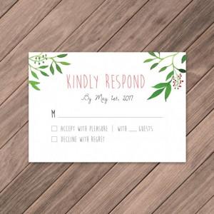 Watercolor Wreath Wedding Invite, DIY Invites, Rustic Wedding Invites, Summer/Spring Invites, Whimsical Wedding Invites, Instant Download