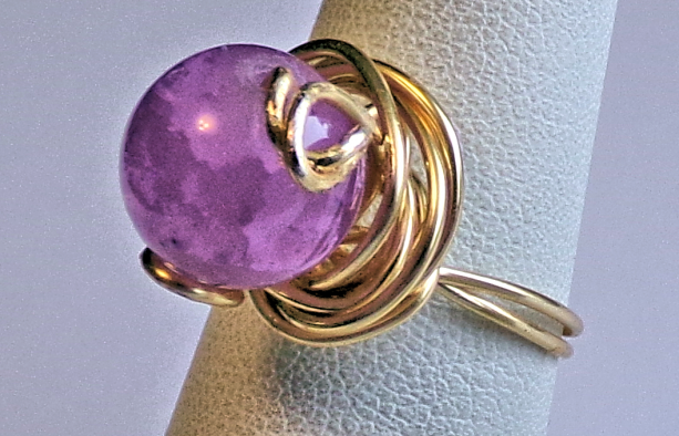 Gold Tone Ring with Lavender Bead Size 8