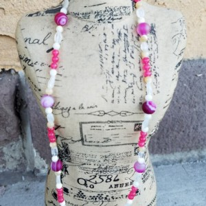 Handmade Fuschia Agate Mother of Pearl Moonstone Jade Beaded Necklace Womens