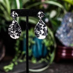 Black & white lace teardrop polymer earrings