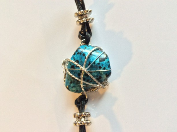 Wire wrapped polished stone leather bracelet, blue stone