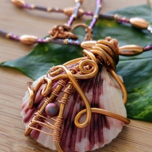 Wire wrapped natural seashell