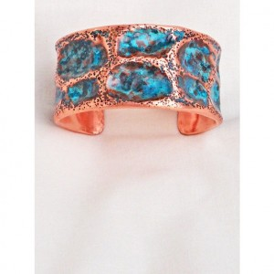 Large Dimple Textured Copper Bracelet C Hand Forged