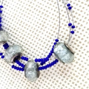 Gray and Blue three strand tiger tail boho jewelry; Lampwork Glass Rondelle Faceted Beads