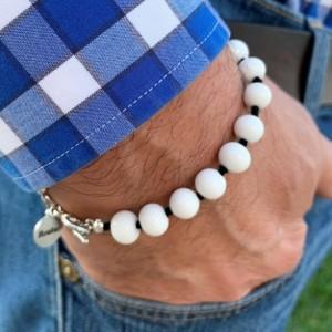 Men's white handmade glass beaded bracelet