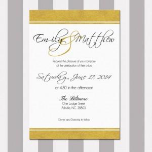 Wedding Invitation Printable, Black and Gold, Customizable, Modern and elegant, Digital Invitation