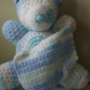Stuffed Crocheted Bear with Blanket