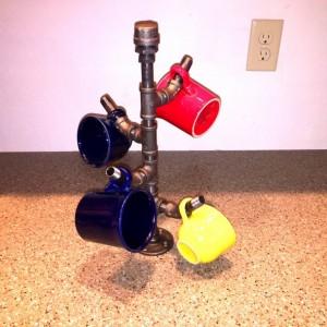 Industrial black pipe Coffee mug holder, Coffee cup rack/hanger, Coffee mug storage