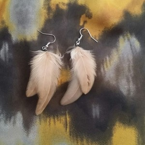 Light Brown Feather Earrings - Tan Feather Earrings - Taupe