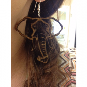 Large Wooden Elephant Head Outline Dangle Earrings - FREE US SHIPPING