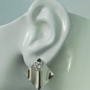 Earring Jackets for Studs Sterling Silver Dangle Ear Jackets Gemstone Enhancer Diamond Wave Smooth JWAVESSSM