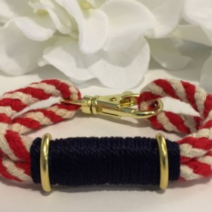 Red, White, & Navy Patriotic Rope Bracelet w/ Gold Hardware