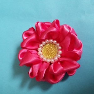 "Two 2.5"" Pink ruffled flower hair clip, kanzashi"