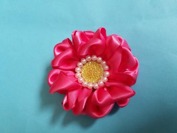 "Two 2.5"" Pink ruffled flower hair clip, kanzashi"