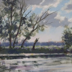 Landscape by Bogdan Goloyad 18x30 cm oil on canvas