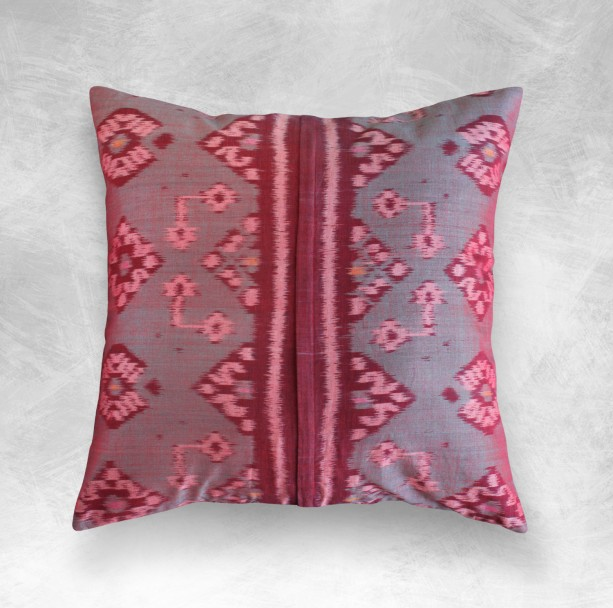 "Woven ""Pandawa Rouge""  Ikat Pillow, Handmade Balinese Decorative Pillow for modern interior decor"