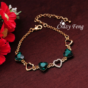 Romantic Women Heart Bracelet -18k Yellow Gold Plated