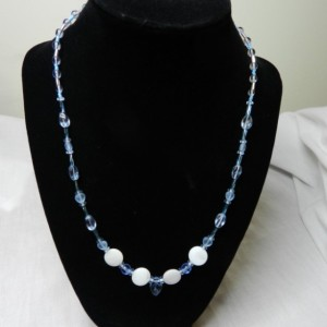 Light Blue Leaf Glass & Ivory beaded Necklace great gift idea