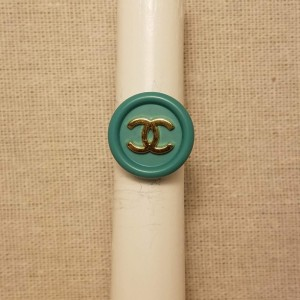 Authentic Iconic Designer Button Ring Tiffany Blue and Gold, Insignia ring Classic Designer Up cycled Button Jewelry Ring