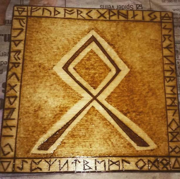 "Othala Rune - 4""x4"" Pyrography Wood Burning - Housewarming Gift"