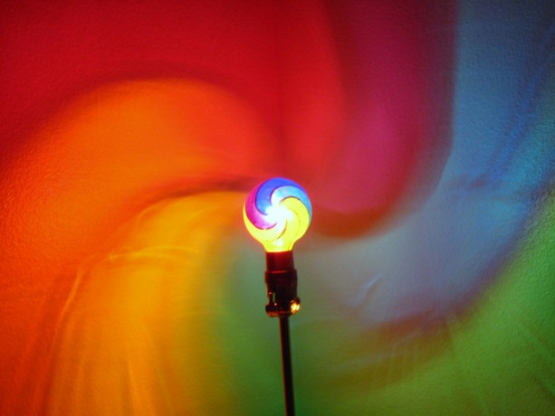 Hand-Painted Rainbow Fibonacci Spiral Mood-Light Bulb