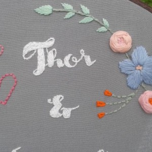 Custom-Made Wedding/Engagement/Anniversary Hand Embroidery Hoop- Wall Art (8 inch)