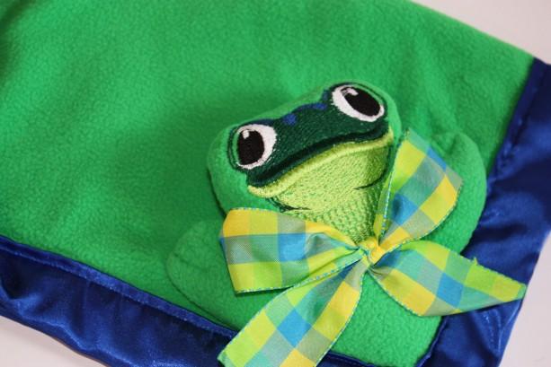 Frog Security Blanket Lovey Blanket Satin Baby Blanket