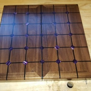 Magnetic tak set made from black walnut,ebony,wenge,and amethyst acrylic
