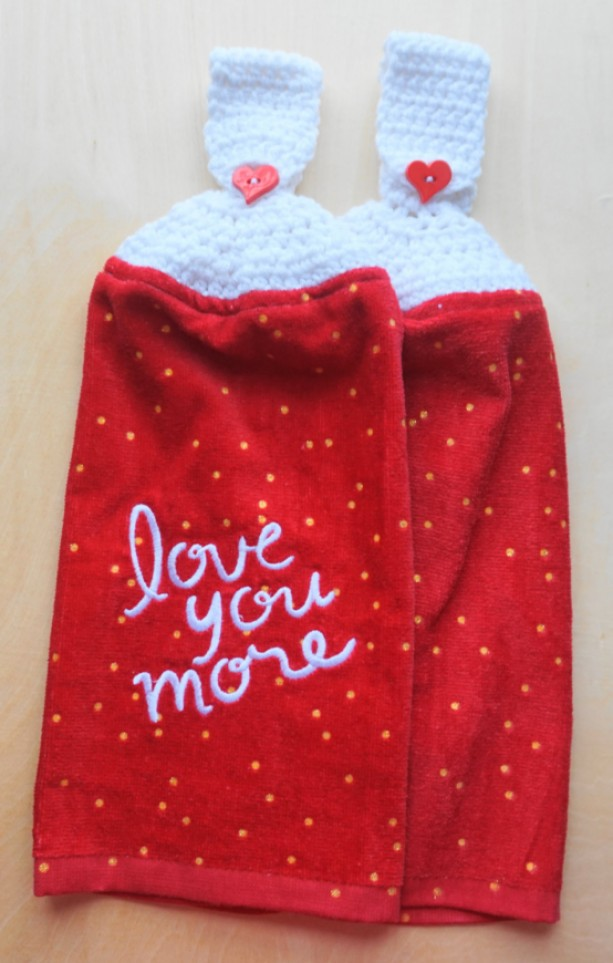 Love You More Crochet Kitchen Towel, Set of 2
