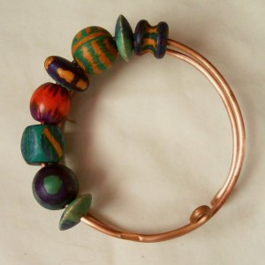 Copper Bangle Bracelet With Hand-Painted Wooden Beads