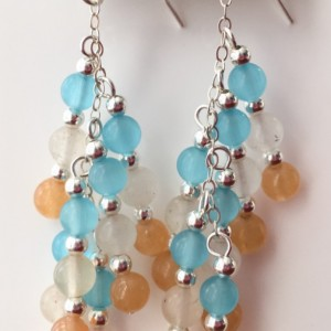 Blue, orange and white earrings