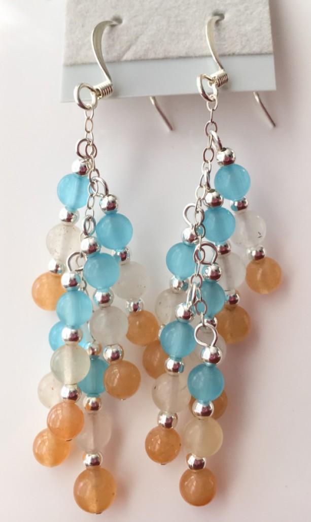 Blue, orange and white earrings