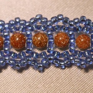 Blue and Goldstone Woven Bracelet