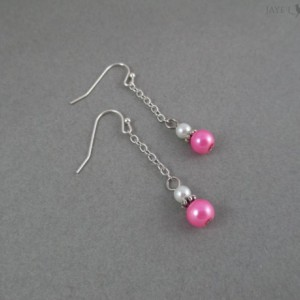 Silver Glass Pearl Dangle Earrings - Multiple Colors