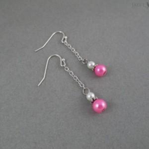 Silver Glass Pearl Dangle Earrings - Multiple Colors