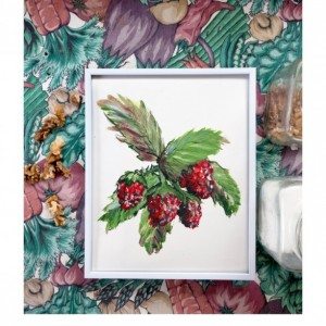8x10 Raspberry Print, Food Art, Food Illustration, Home Wall Art, Kitchen Decor, Berries Painting, Art Print, Fruit Print, Raspberries Painting