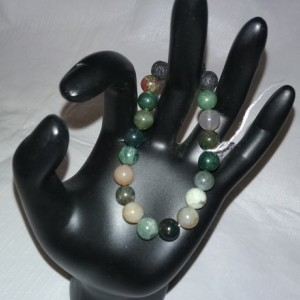 Indian Moss Agate Gemstones w/Lava Stone Diffuser Bracelet